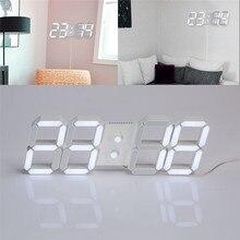 USB relojes de pared casa horloge murale le3D Modern Digital LED Home Wall Clock Timer 24/12 Hour Display