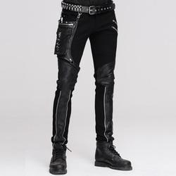Devil Модные мужские кожаные брюки в стиле панк с набедренным карманом, повседневные винтажные Прошитые повседневные брюки на Хэллоуин, мужск...