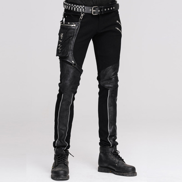 Devil Fashion Punk Leather Pants Men With Hip Holster Pocket Casual Vintage Halloween Stitched Casual Pants Men Tactical Pants 1