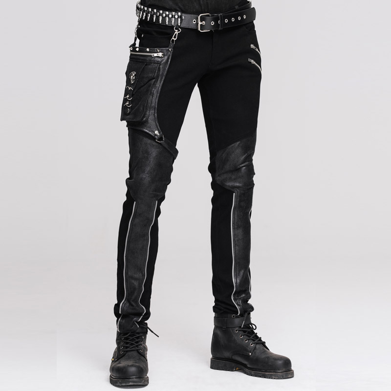 Devil Fashion Punk Men's Straight Pants with Hip Holster Pocket Casual Spliced Pants Gothic Punk Men's Trousers-in Leather Pants from Men's Clothing