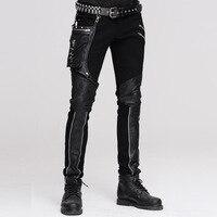 Devil Fashion Punk Leather Pants Men With Hip Holster Pocket Casual Vintage Pants Stitched Casual Pants Men Tactical Pants
