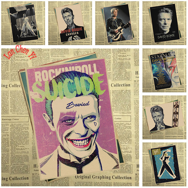 David Bowie rock poster Retro nostalgia kraft paper vintage poster ...