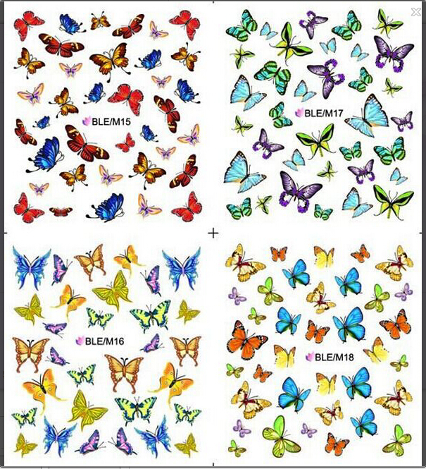 1 sheet Nice Nail Art Sticker Water Transfer Stickers Butterfly Decals Decoration DIY Beauty Manicure Foil Wraps SABLE/M15-18 beauty girl 2017 wholesale excellent 48bottles 3d decal stickers nail art tip diy decoration stamping manicure nail gliter