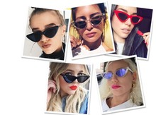 2019 newCat's Eye Sunglasses Sexy Cute Lady Sunglases Red and Black sunglass Mirror Frame Mercury Lens Transparent Color glasses цены