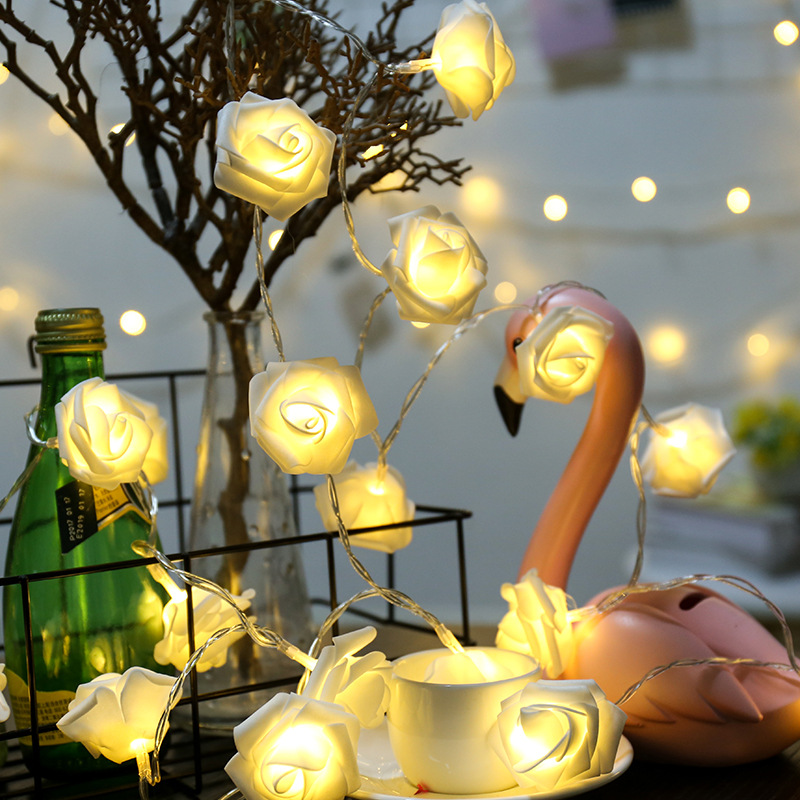Yijinsky 2M 1M  Rose Shape LED String Lights For Christmas  Party Wedding Valentine's Day Home Decoration Fairy Lights Battery