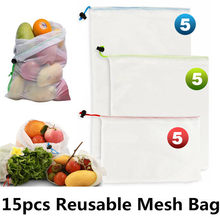 15pcs/lot Reusable Mesh Bag Rope Shopping Bag Vegetable Storage Pouch Fruit Grocery Bags String Storage Organizers Shopper Bag(China)