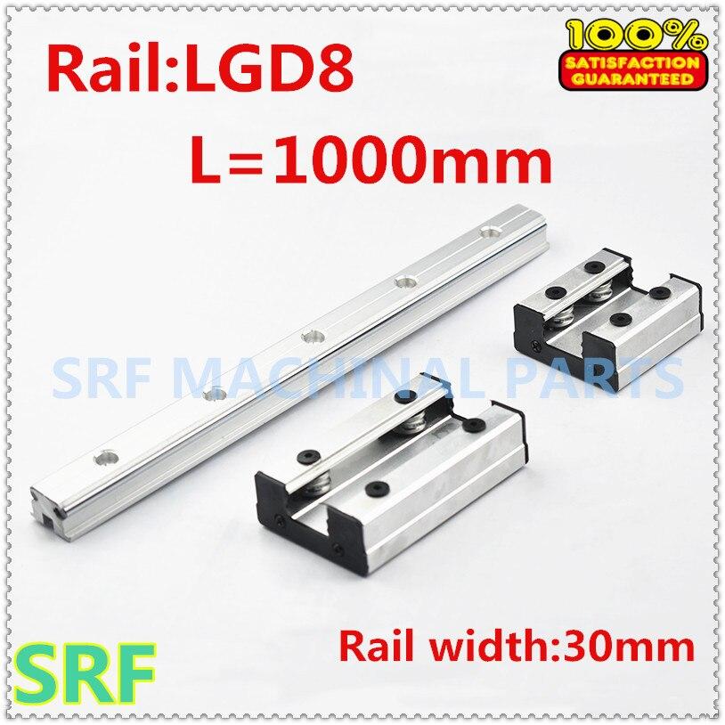 Rail linéaire de rouleau de rail de guidage externe de Double axe de largeur de 30mm 1 pcs LGD8 L = 1000mm avec le bloc de glissière de 1 pc 4 roues pour des pièces de CNC