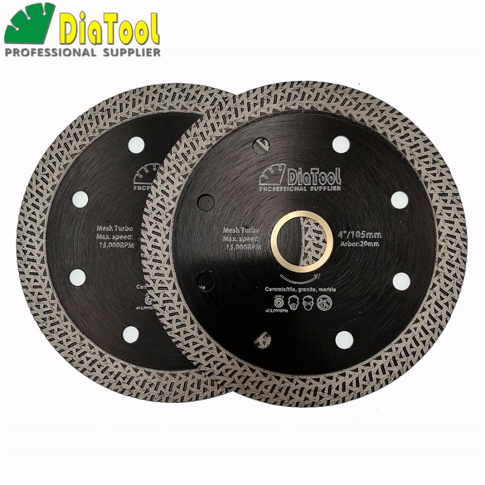 цена на DIATOOL 2pcs Hot pressed sintered Mesh Turbo Diamond Saw blade Hard material Diamond Wheel Cutting Disc Dia 105MM 115MM or 125MM
