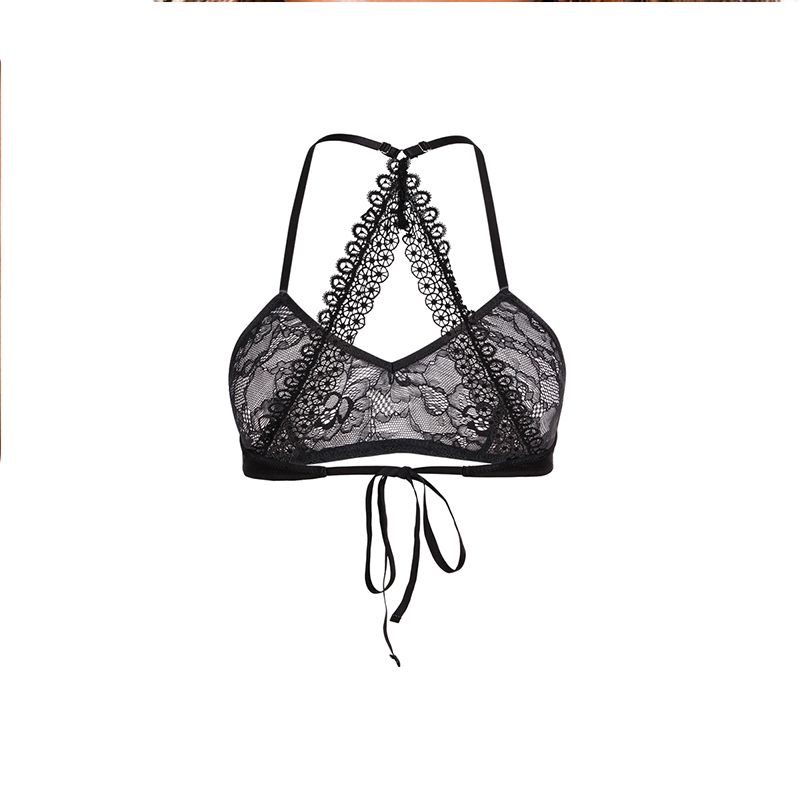 Missomo Woman Hollow Bra Perspective Backless Bandage Sexy Lace Underwear Summer New Flimsy Pure Black Lingerie in Bras from Underwear Sleepwears