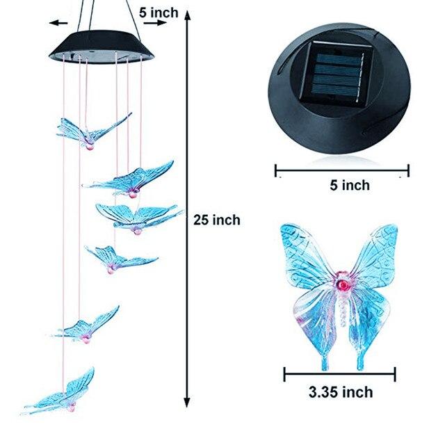 Enerji verimli güneş renk değiştiren LED kelebek rüzgar çanları balkon çocuk odası dekor bahçe asılı işık lambası dekorasyon