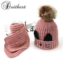 Doitbest/комплекты шапочки с помпонами из мультфильма «Кот», бархатные шерстяные детские вязаные меховые шапки, зимние меховые шапки, 2 предмета, шарф для маленьких девочек, шапка