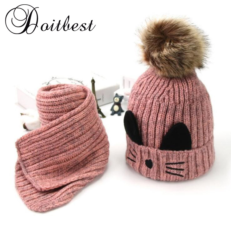 Doitbest Cartoon Cat Hairball Beanies Sets Velvet Wool Kids Child Knitted Fur Hats Winter Fur Inside 2 Pcs Baby Girl Scarf Hat