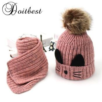 Doitbest Cartoon Cat Hairball Beanies Sets Velvet Wool Kids Child Knitted Fur Hats Winter Fur Inside 2 Pcs Baby Girl Scarf Hat