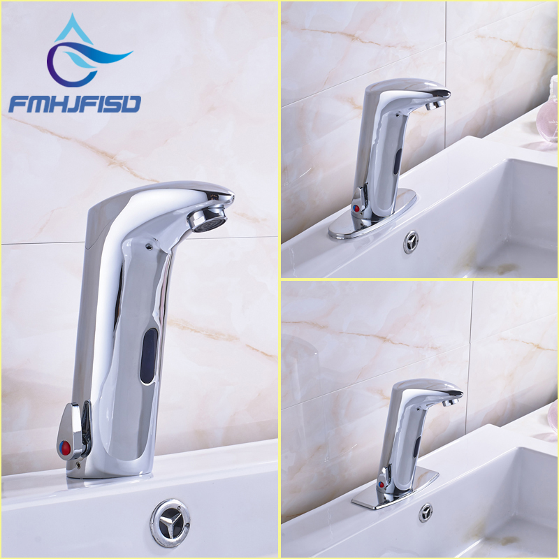 Wholesale and Retail Three Types Basin Mixer Faucet Chrome Finish Deck Mounted Sensor Water Taps us free shipping wholesale and retail chrome finish bathrom sink basin faucet mixer tap dusl handle three holes wall mounted