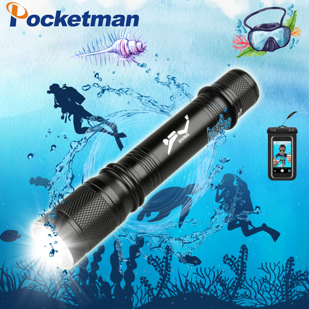 T6 Waterproof Dive Underwater 80 Meter LED Diving Flashlight Torch Lamp Light Camping Lanterna With Stepless dimming add a gift scuba dive light