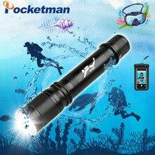 T6 Waterdichte Dive Onderwater 80 Meter LED Duiken Zaklamp Zaklamp Lamp Licht Camping Lanterna Met Traploos dimmen voeg een gift