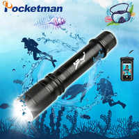 T6 Waterproof Dive Underwater 80 Meter LED Diving Flashlight Torch Lamp Light Camping Lanterna With Stepless dimming add a gift