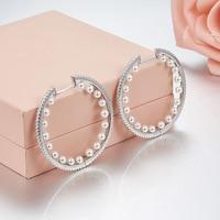 Fashion Brand Elegant Design Pearl Inside Zircons Paved Hoop Earring 925 sterling silver aros mujer oreja fashion earrings 2018
