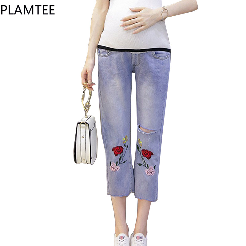PLAMTEE Jeans Maternity Embroidery Flower For Pregnant Women Loose Denim Trousers Pregnancy Clothing Summer Clothing 2017 New summer women fashion high waist embroidery flower denim tassel jeans shorts female floral shorts jeans for women dx8299