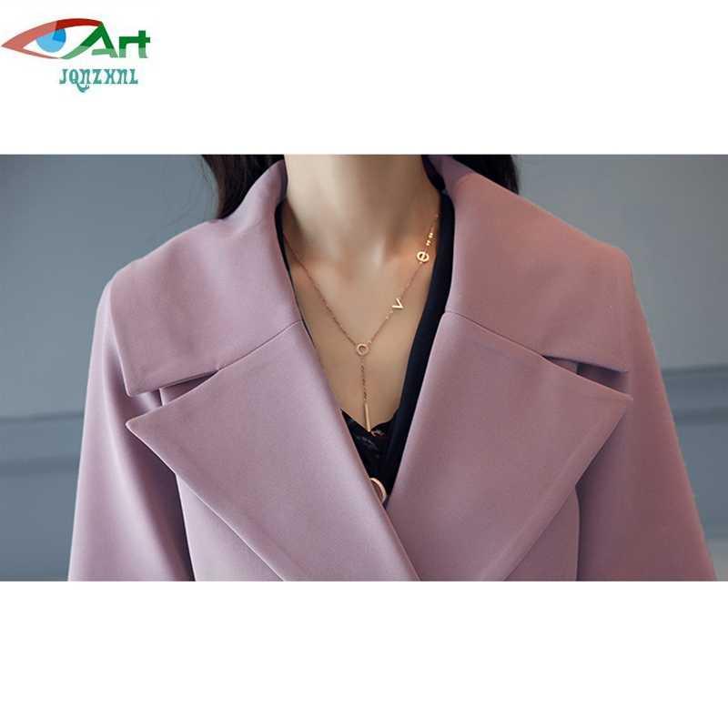 Gabardina media larga para mujer jqnzhni más talla 4XL 2019 nueva primavera otoño mujeres doble Breasted Trenchcoats ropa de abrigo E676
