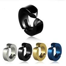Sale 1PC New Fashion Stainless Steel Black Earring Women Round Men  Jewelry 4 colors Drop Shipping