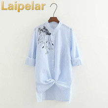 Autumn stand collar embroidery long-sleeved shirt top fashion embroidered striped blouse shirt Laipelar Women Clothes vertical striped flower embroidered frill shirt