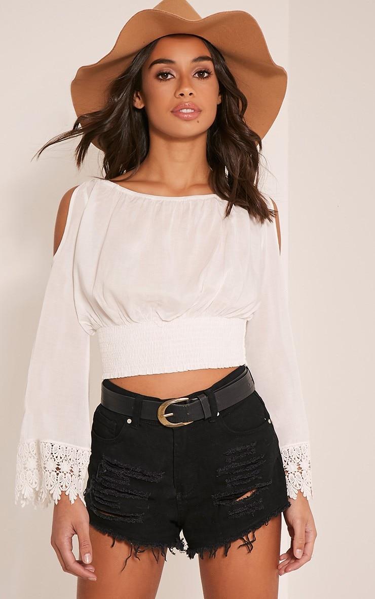 b06f547eb1e Off Shoulder Long Sleeve Women Blouses 2016 Autumn Women Crop Top Black  Sexy Blusas Short White Lace Chic Blouse kimono-in Blouses & Shirts from  Women's ...