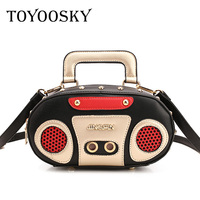 TOYOOSKY Rock Style Retro Radio Shape Handbags Women Shouder Bag PU Leather Women S Fashion Rivet