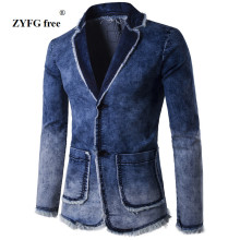 2017 new autumn winter style men's casual suit coat men personality Corner water washing Denim pocket decorate Leisure suit Coat