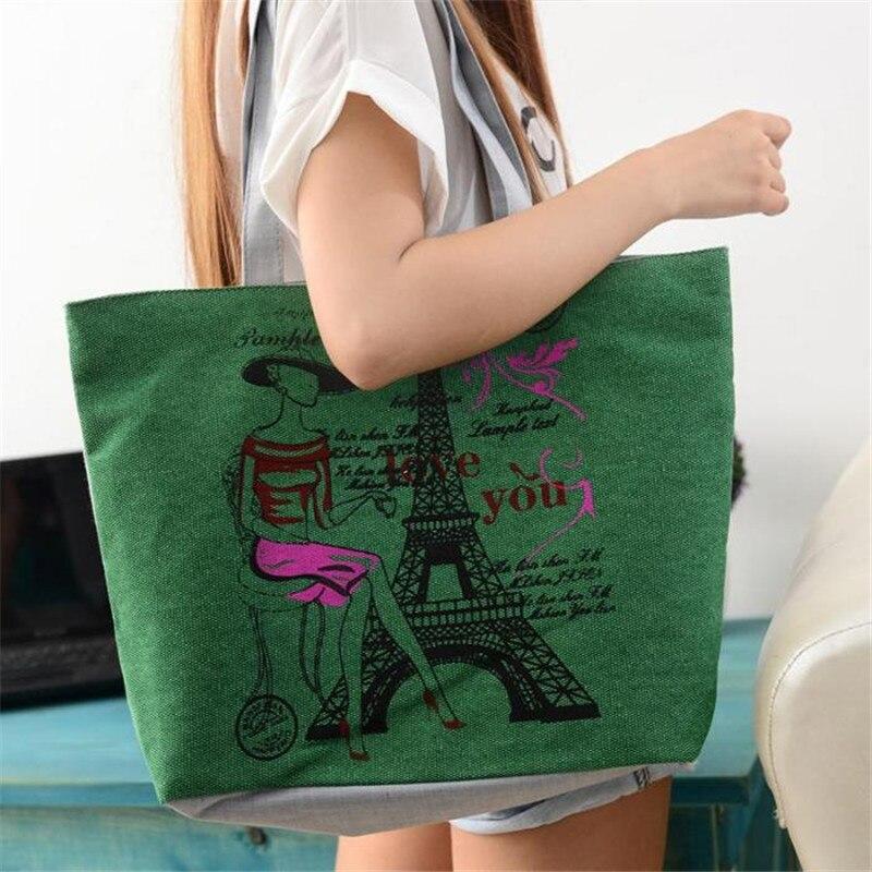 bolsa feminina 2017 Handbags Casual Tote Two Strap Bag Totes Fashion Style Iron Tower Canvas Zipper Versatile Bags para mujer