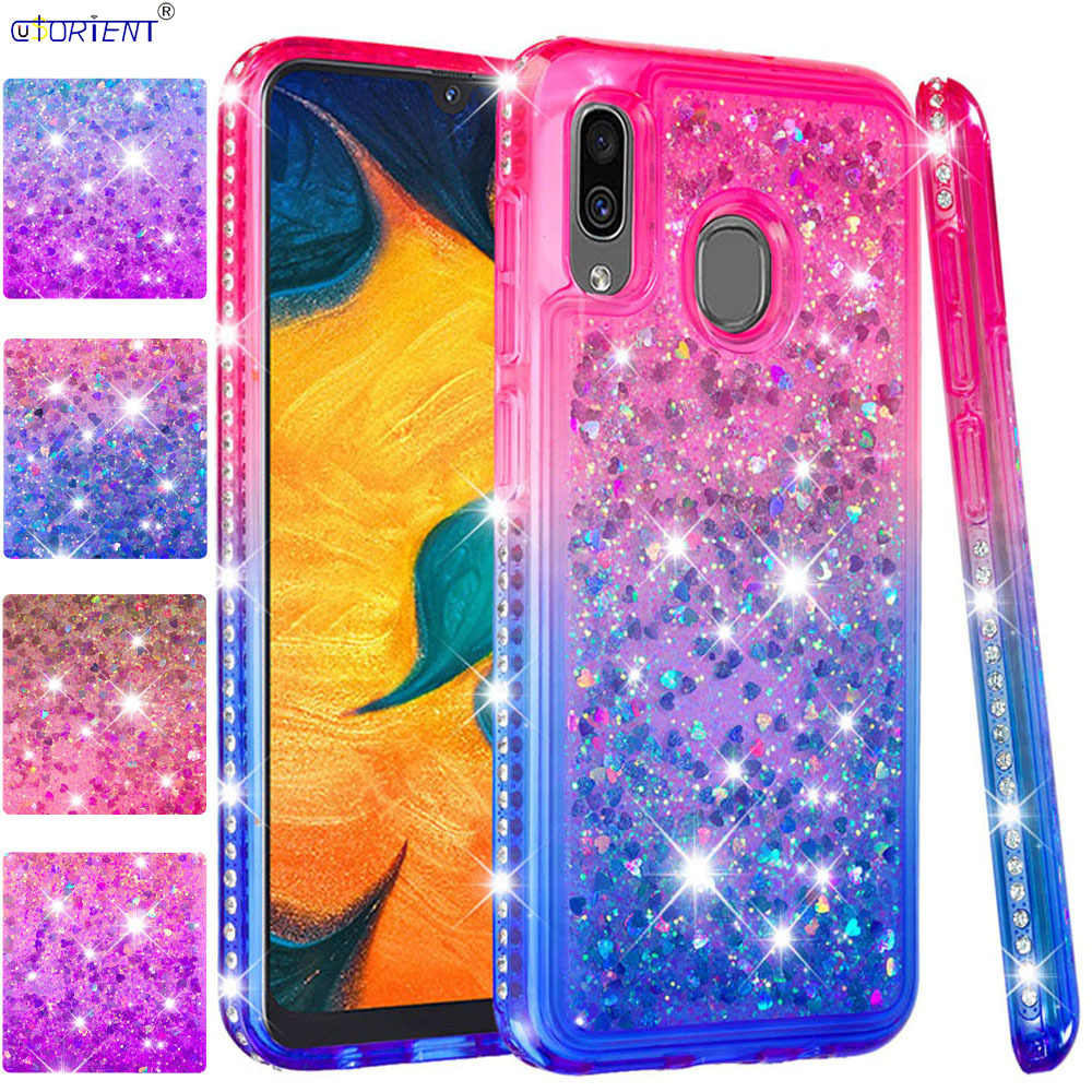 Cute Soft Case for Samsung Galaxy Wide4 A30 A20 2019 Glitter Diamond Liquid Bumper Cover SM-A205FN/DS SM-A305FN/DS SM A205FN/DS