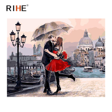 RIHE Kissing Lovers Oil Painting By Numbers Romantic Cuadros Decoracion Acrylic Paint On Canvas For Artwork Modern Home Decor