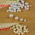 Cor branca Tamanhos Mistos Nenhum Buraco Redondo Solta Pérolas de Imitação Resina Artesanato Beads DIY Artesanato Jóias Que Fazem Decorações
