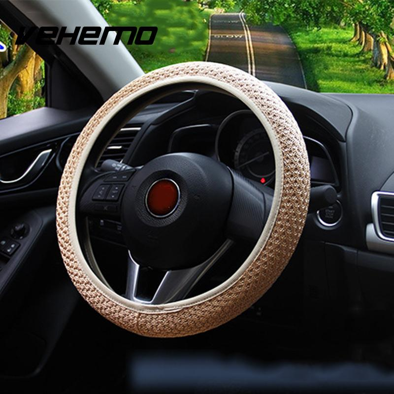 Vehemo 2017 Hot Sale Auto Car Interior Accessories Universal Elastic Handmade Protective Case Skidproof Steering Wheel Cover