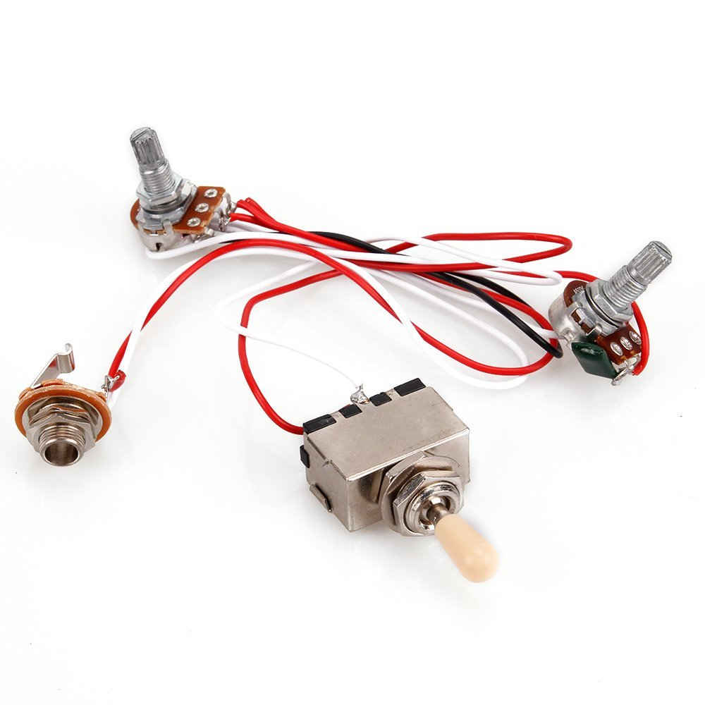 1pc guitar wiring harness 3 way lp 2 humbucker toggle switch 1v1t 500k prewired wiring harness. Black Bedroom Furniture Sets. Home Design Ideas