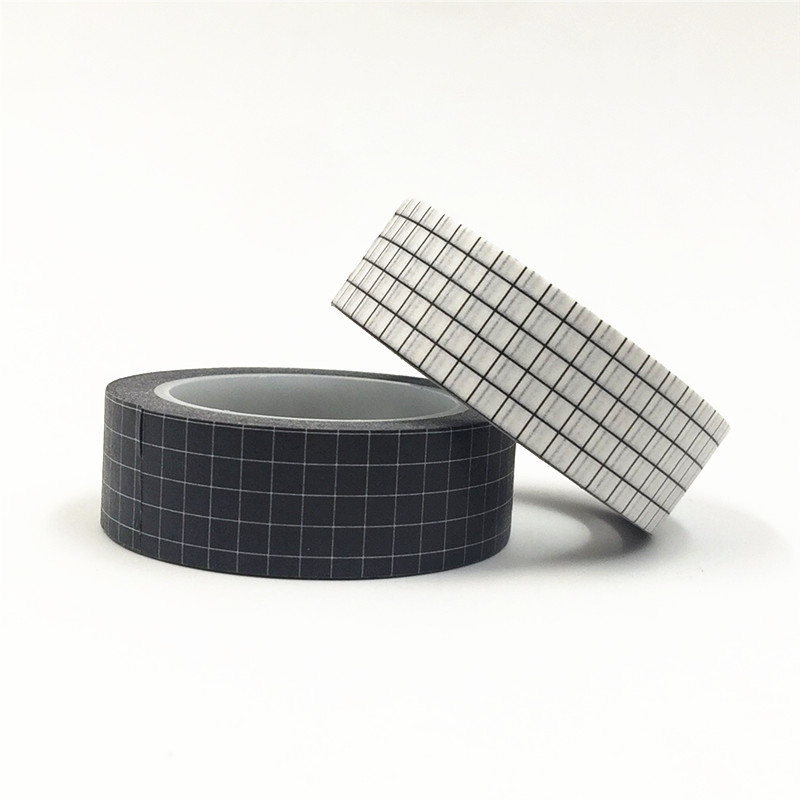 10M Black and White Grid Washi Tape Japanese Paper DIY Planner Masking Tape Adhesive Tapes Stickers Decorative Stationery Tapes 2