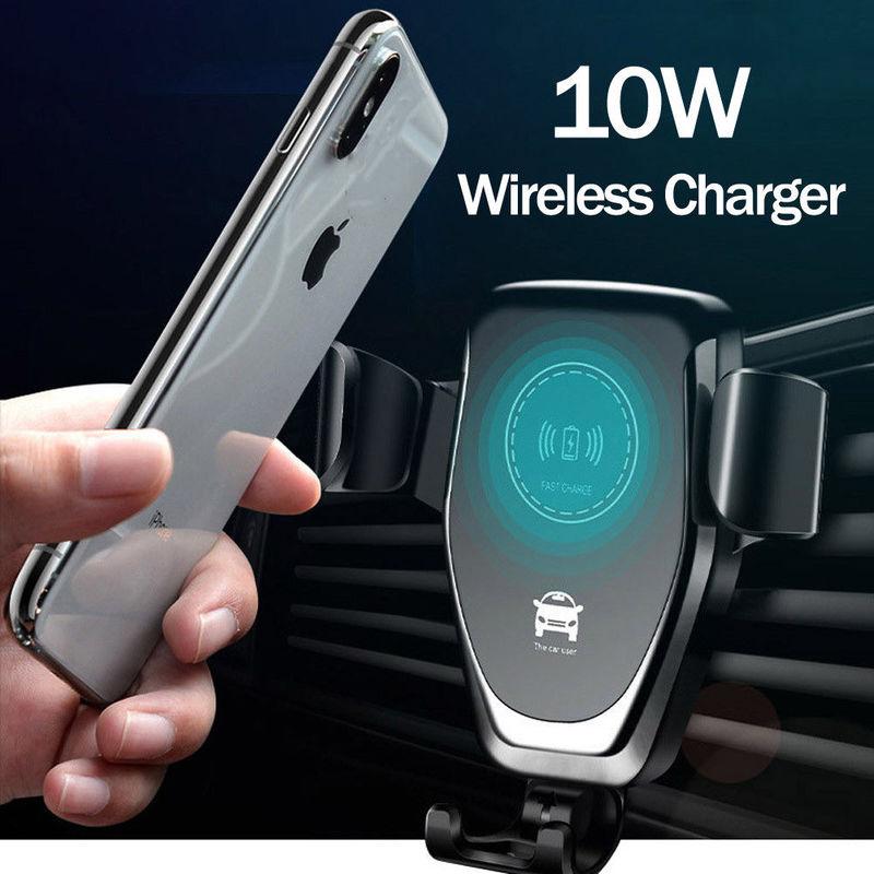 Soporte de coche cargador inalámbrico Qi de 10W para IPhone XS Max X XR 8 soporte de teléfono de coche de carga inalámbrica rápida para Samsung Nota 9 S9