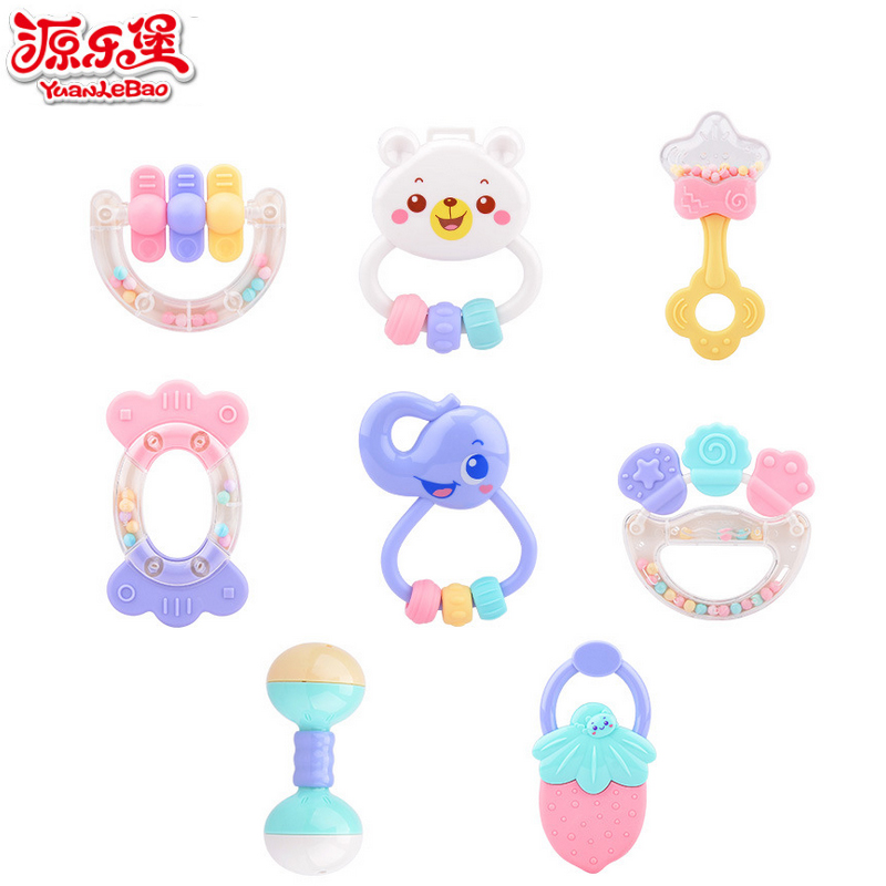 Yuanlebao 8pcs Baby Rattles And Teether Set Hand Bell Environmental protection materials Can be boiled Educational Mobile Toys