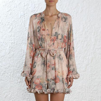 ZIM Style Summer Spring Playsuits Women V Neck Floral Print Ruffles Full Sleeve Playsuits Female Holiday Party Beach Clothes