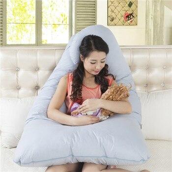 4d2d57e79 144 89 cm Maternidad en forma de U Almohadas inflables multifuncional mujer  embarazada Almohadas embarazo Almohadas para dormir de lado largo Almohadas