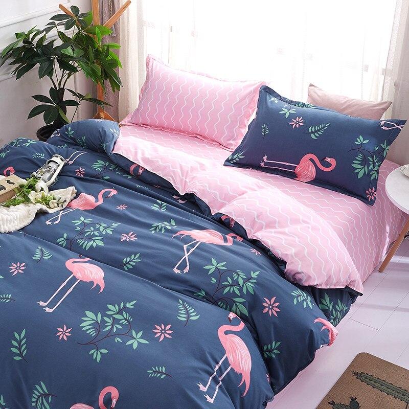 Jogo de Cama de Luxo Flamingo de Casal Capa de Edredão Peças de Roupa de Cama Rússia Euro Queen King Size Set 2 e 6 da Família Definir Home Textile
