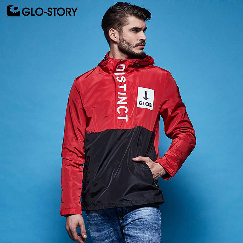 GLO-STORY Men's Letter Print Windbreker Lightweight Jacket Coat Men Zipper Placket Front Pocket Jackets MFY-5992