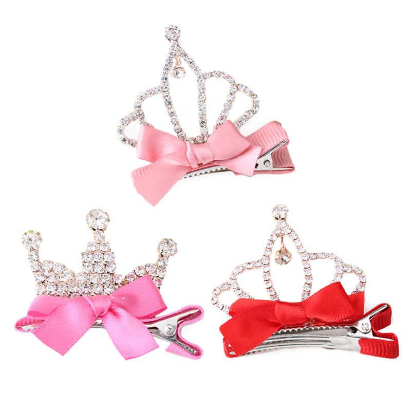 aea200749b C Children Girls Hair Clip Shiny Crown Hair Accessories Cute Princess  Rhinestone Hairpin Tiara Crystal Barrette