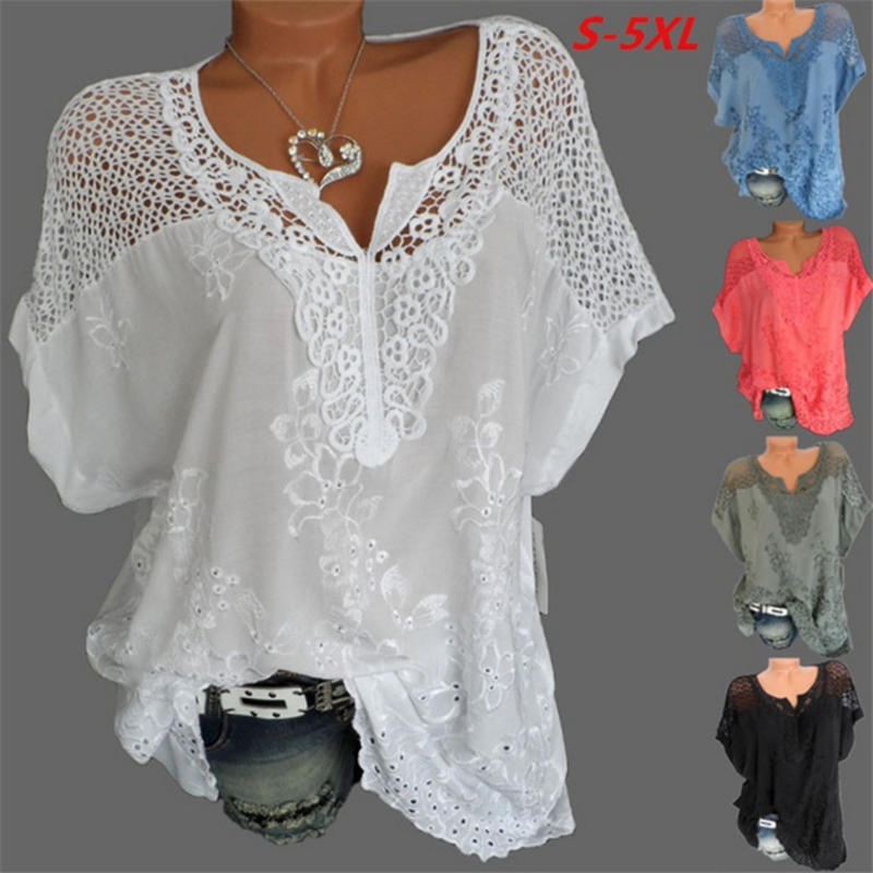 Women's Lace Blouses Sexy V Neck Short Sleeve Embroidered Batwing Loose Shirt Summer White Tops Sweet Plus Size 5XL Shirts C0668