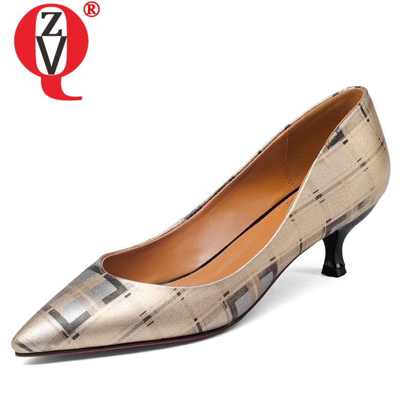 ZVQ Woman Shoes Pumps Pointed-Toe Genuine-Leather Skid-Resistance Comfortable All-Match-Style