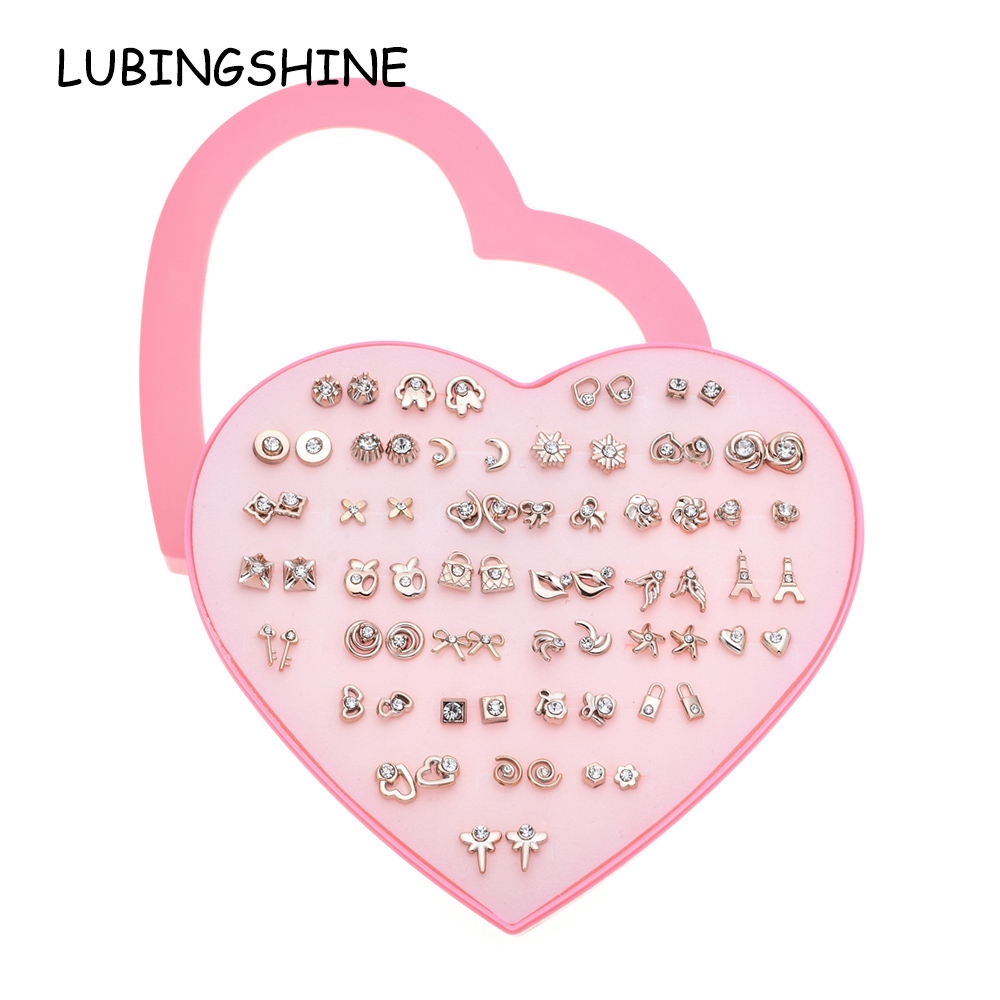 LUBINGSHINE Trendy Women Gold Silver Color 36 pairs of Stud