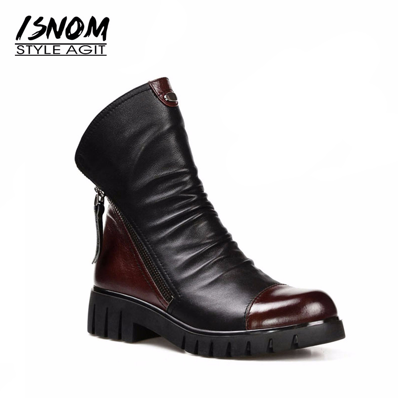 ISNOM Genuine Leather Ankle Boots Zipper Real Fur Boots Woman Footwear Winter Fashion Wool Lining Thick