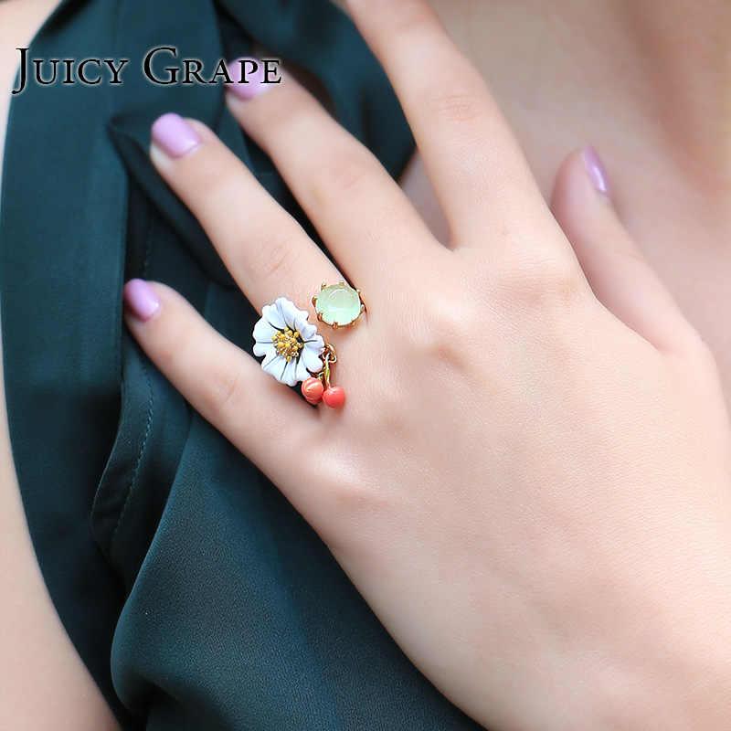Дорогая Эмаль Глазурь Белый Цветок Ромашка Алмаз Вишня Люк Кольцо Можно Настроить