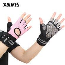 AOLIKES Men Women Weightlifting Gloves Gym Half Finger Sports Fitness Gloves Anti-slip Resistance Exercise Training Wrist Gloves