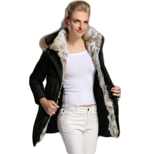 2016 New Rabbit hair eiderdown outerwear Women White goose down Jacket With hood Mid Long Parka fur collar Slim Thick primary coat